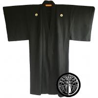 Man's antique traditional Japanese kimono Maruni Daki Myoga Montsuki