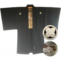 "Men's antique Haori japanese kimono jacket Takanohane Montsuki Kyomizudera Kyoto ""Made in Japan"""