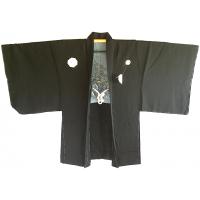 """Men's antique Haori kimono jacket TakanoHane Montsuki Nihon no yama kurashi """"Made in Japan"""""""