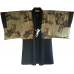 "Men's antique Haori japanese kimono jacket Mokkou Montsuki Ikusa no Densho ""Made in Japan"""