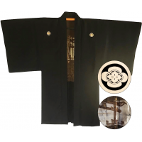 "Men's antique Haori japanese kimono jacket Mokkou Montsuki Torii ""Made in Japan"""