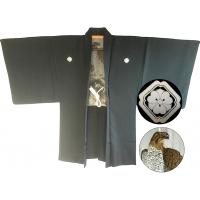 "Men's antique Haori japanese kimono jacket Kenkatabami Montsuki Washi Eagle ""Made in Japan"""