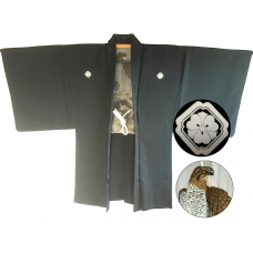 "Men's antique Haori japanese kimono jacket Kenkatabami Montsuki Washi Eagle ""Made in Japan"""