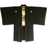Man's Antique Haori kimono jacket Kodomo No no Mai Montsuki black silk Made in Japan