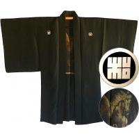 "Men's antique Haori japanese kimono jacket Rin Montsuki Kuro uma ""Made in Japan"""