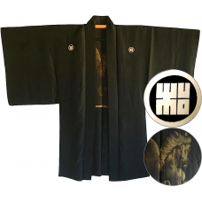 "Men's antique Haori japanese kimono jacket Rin Montsuki Kuro uma ""Made in Japan"""
