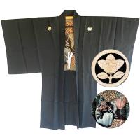 "Men's Zen Buddhism Daruma Antique Haori kimono jacket Tachibana Montsuki ""Made in Japan"""