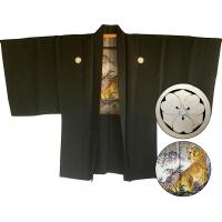 """Men's vintage Haori japanese kimono jacket Kenkatabami Montsuki tora tiger """"Made in Japan"""""""